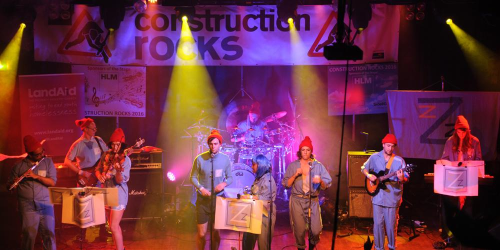 Band performing at Construction Rocks
