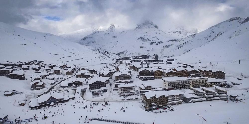Snowy mountains in Tignes, France