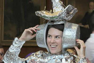 Property professional dressed in tin foil costume