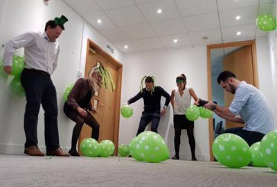 Property professionals attempting to break balloon popping record