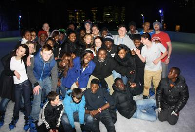 Group of mentees on an ice skating trip
