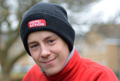 young man in woolly hat
