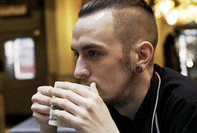 Sean drinking tea