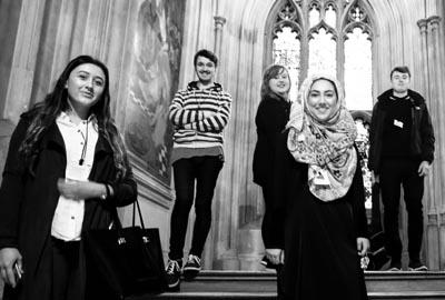 young activists on steps of parliament